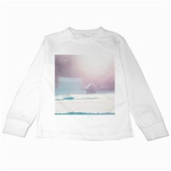 Winter Day Pink Mood Cottages Kids Long Sleeve T Shirts