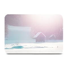 Winter Day Pink Mood Cottages Plate Mats by Nexatart