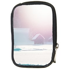 Winter Day Pink Mood Cottages Compact Camera Cases by Nexatart