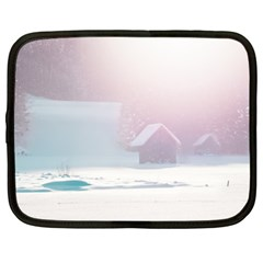 Winter Day Pink Mood Cottages Netbook Case (xxl)