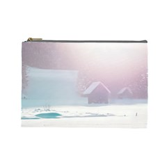 Winter Day Pink Mood Cottages Cosmetic Bag (large)  by Nexatart