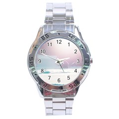 Winter Day Pink Mood Cottages Stainless Steel Analogue Watch