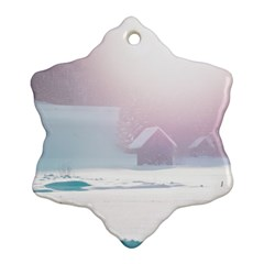 Winter Day Pink Mood Cottages Ornament (snowflake) by Nexatart
