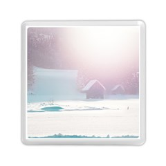 Winter Day Pink Mood Cottages Memory Card Reader (square)  by Nexatart