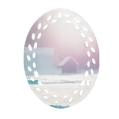 Winter Day Pink Mood Cottages Ornament (oval Filigree)