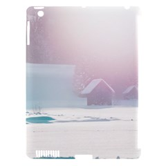 Winter Day Pink Mood Cottages Apple Ipad 3/4 Hardshell Case (compatible With Smart Cover)