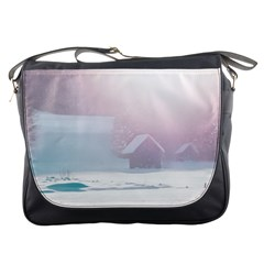 Winter Day Pink Mood Cottages Messenger Bags by Nexatart
