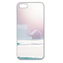 Winter Day Pink Mood Cottages Apple Seamless Iphone 5 Case (clear)