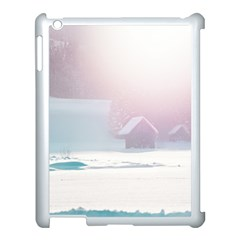Winter Day Pink Mood Cottages Apple Ipad 3/4 Case (white)