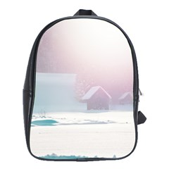 Winter Day Pink Mood Cottages School Bags (xl)
