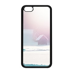 Winter Day Pink Mood Cottages Apple Iphone 5c Seamless Case (black)