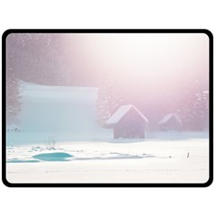 Winter Day Pink Mood Cottages Double Sided Fleece Blanket (large)  by Nexatart