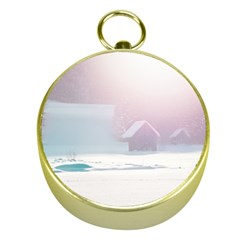 Winter Day Pink Mood Cottages Gold Compasses by Nexatart