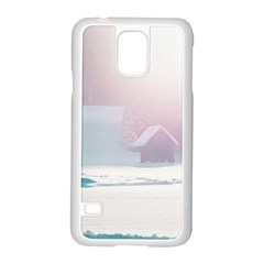 Winter Day Pink Mood Cottages Samsung Galaxy S5 Case (white) by Nexatart