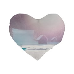 Winter Day Pink Mood Cottages Standard 16  Premium Flano Heart Shape Cushions by Nexatart