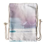 Winter Day Pink Mood Cottages Drawstring Bag (Large) Front