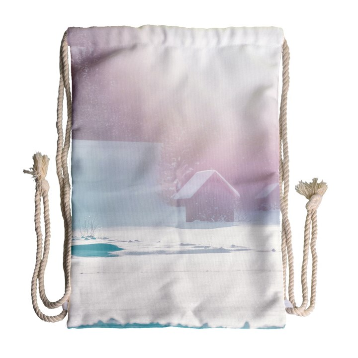 Winter Day Pink Mood Cottages Drawstring Bag (Large)