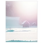 Winter Day Pink Mood Cottages Drawstring Bag (Large) Back