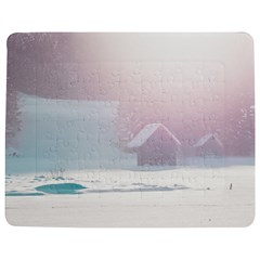 Winter Day Pink Mood Cottages Jigsaw Puzzle Photo Stand (rectangular)