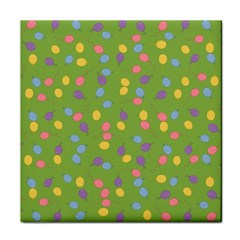 Balloon Grass Party Green Purple Tile Coasters