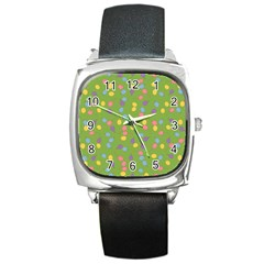 Balloon Grass Party Green Purple Square Metal Watch by Nexatart