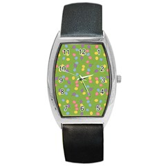 Balloon Grass Party Green Purple Barrel Style Metal Watch