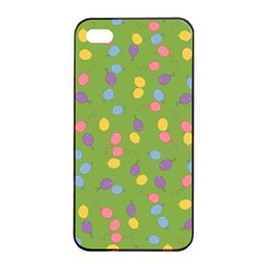 Balloon Grass Party Green Purple Apple Iphone 4/4s Seamless Case (black) by Nexatart