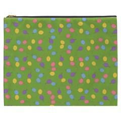 Balloon Grass Party Green Purple Cosmetic Bag (xxxl)  by Nexatart