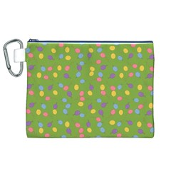 Balloon Grass Party Green Purple Canvas Cosmetic Bag (xl) by Nexatart