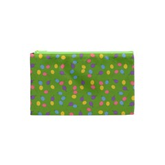 Balloon Grass Party Green Purple Cosmetic Bag (xs) by Nexatart