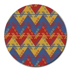 Aztec South American Pattern Zig Zag Round Mousepads by Nexatart