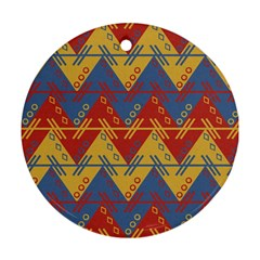 Aztec South American Pattern Zig Zag Ornament (round)