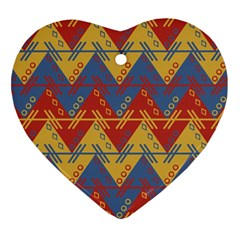 Aztec South American Pattern Zig Zag Ornament (heart) by Nexatart