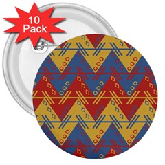 Aztec South American Pattern Zig Zag 3  Buttons (10 Pack)