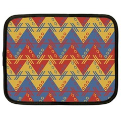 Aztec South American Pattern Zig Zag Netbook Case (xxl)  by Nexatart