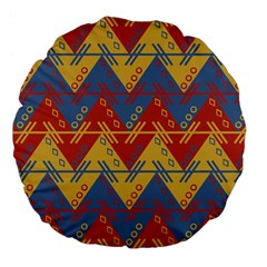 Aztec South American Pattern Zig Zag Large 18  Premium Flano Round Cushions by Nexatart