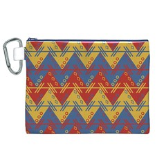 Aztec South American Pattern Zig Zag Canvas Cosmetic Bag (xl)