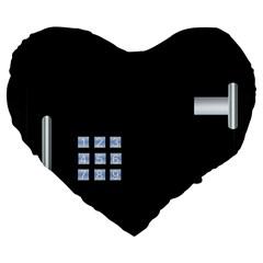 Safe Vault Strong Box Lock Safety Large 19  Premium Heart Shape Cushions by Nexatart