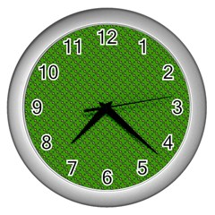Paper Pattern Green Scrapbooking Wall Clocks (silver)  by Nexatart