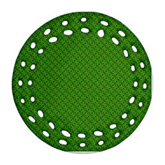 Paper Pattern Green Scrapbooking Round Filigree Ornament (two Sides) by Nexatart