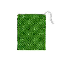 Paper Pattern Green Scrapbooking Drawstring Pouches (small)