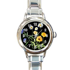 Flowers Of The Field Round Italian Charm Watch by Nexatart