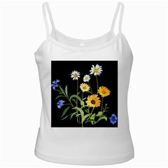 Flowers Of The Field White Spaghetti Tank