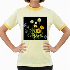 Flowers Of The Field Women s Fitted Ringer T Shirts