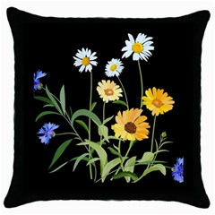 Flowers Of The Field Throw Pillow Case (black) by Nexatart