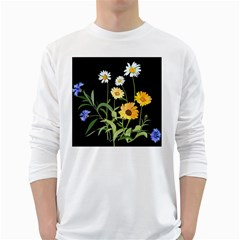 Flowers Of The Field White Long Sleeve T Shirts