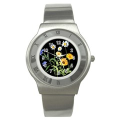 Flowers Of The Field Stainless Steel Watch by Nexatart