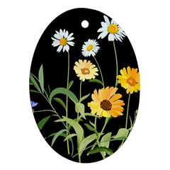 Flowers Of The Field Oval Ornament (two Sides)