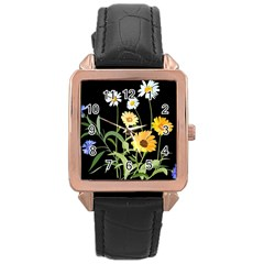 Flowers Of The Field Rose Gold Leather Watch