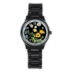 Flowers Of The Field Stainless Steel Round Watch